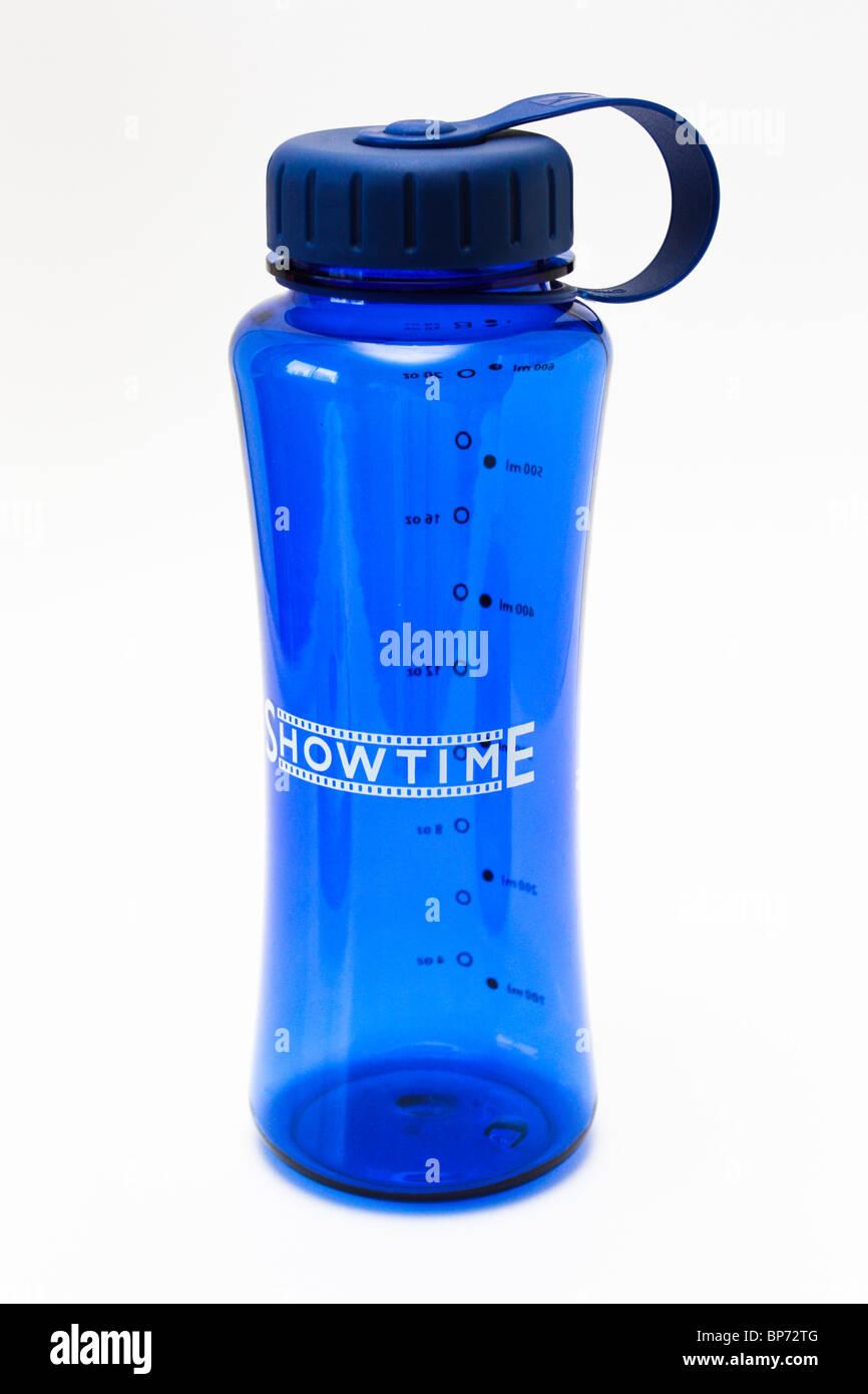 empty blue transparent water bottle - Stock Image