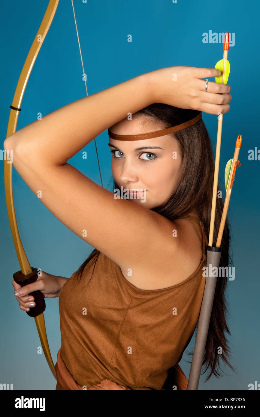 Sagittarius or Archer woman, this photo is part of a series of twelve Zodiac signs of astrology - Stock Image