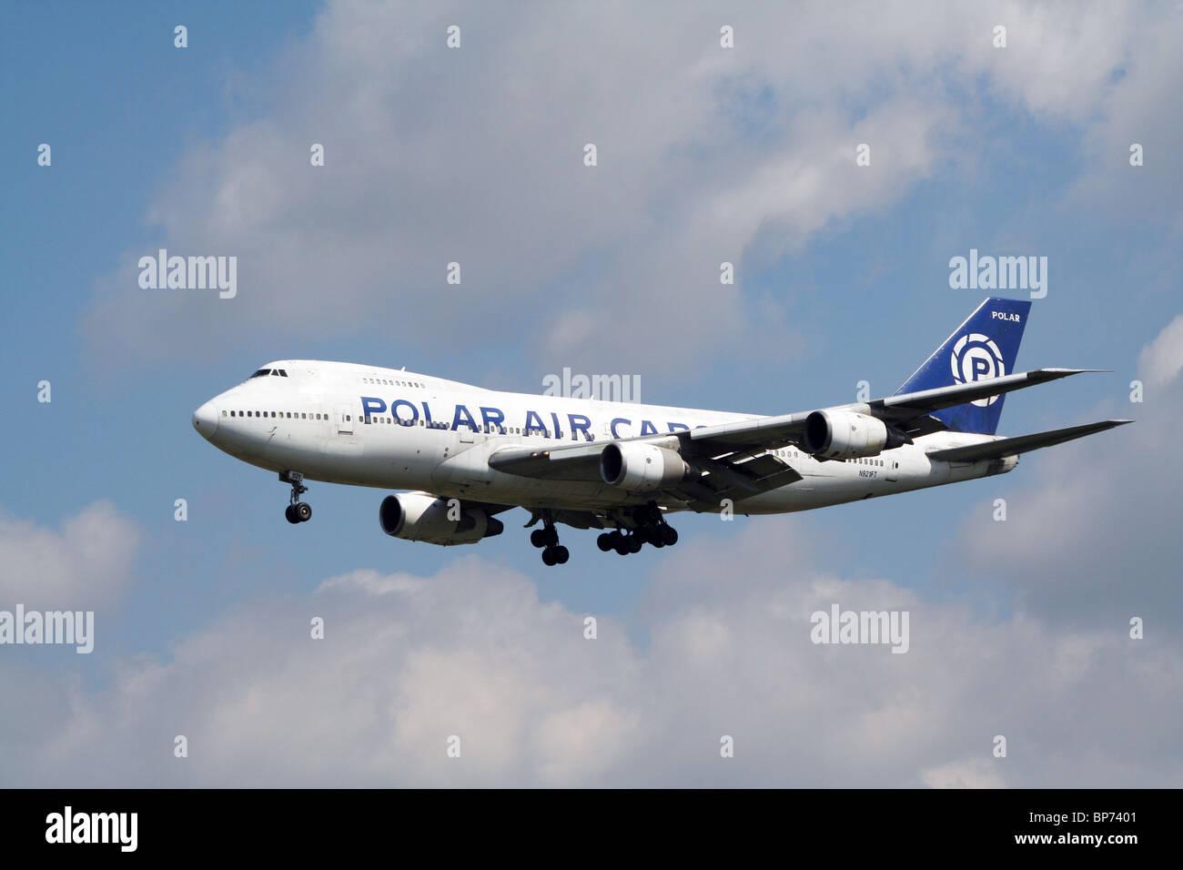 Polar Air Cargo Boeing 747 landing on Frankfurt Airport - Stock Image