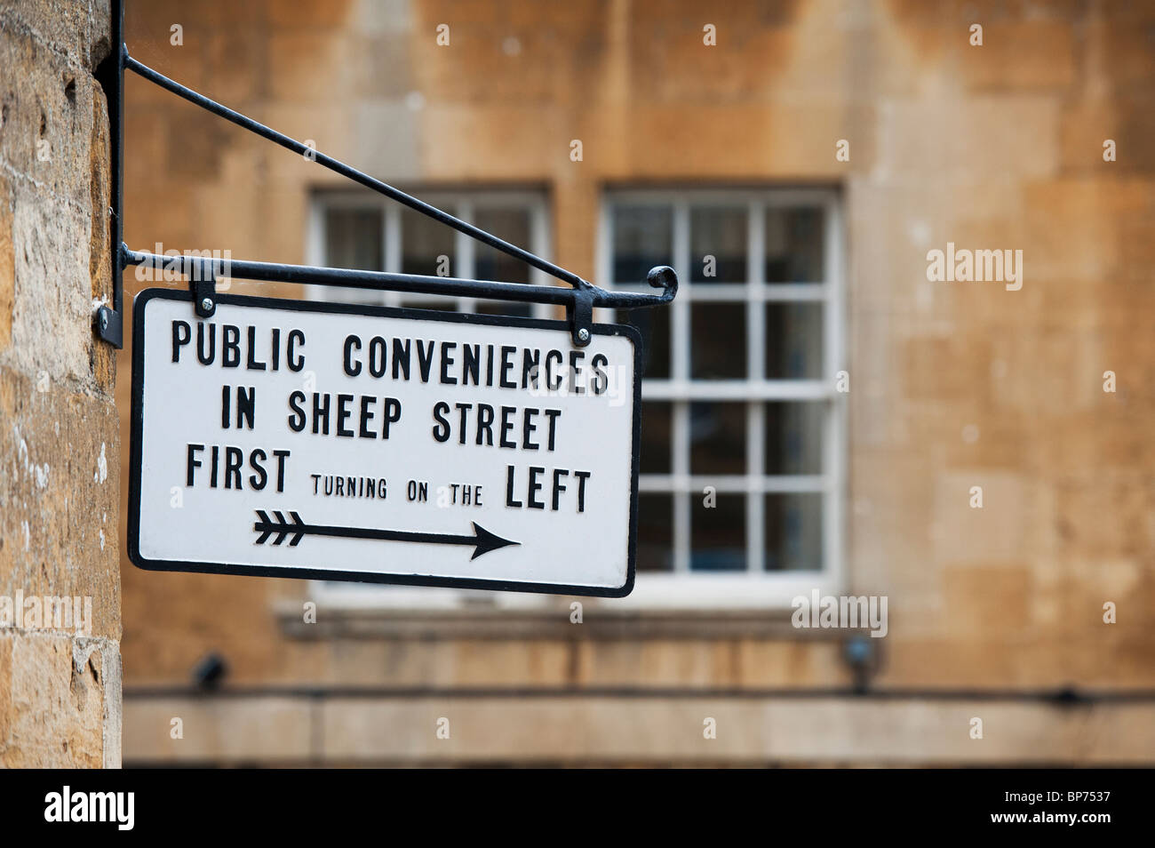 Public Conveniences sign, High street, Chipping Campden, Cotswolds, Gloucestershire, England - Stock Image