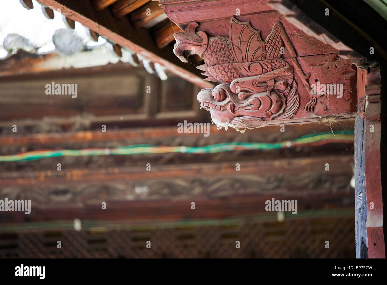 Bai minority architecture, detail on a house in Xizhou village, just outside Dali, China - Stock Image