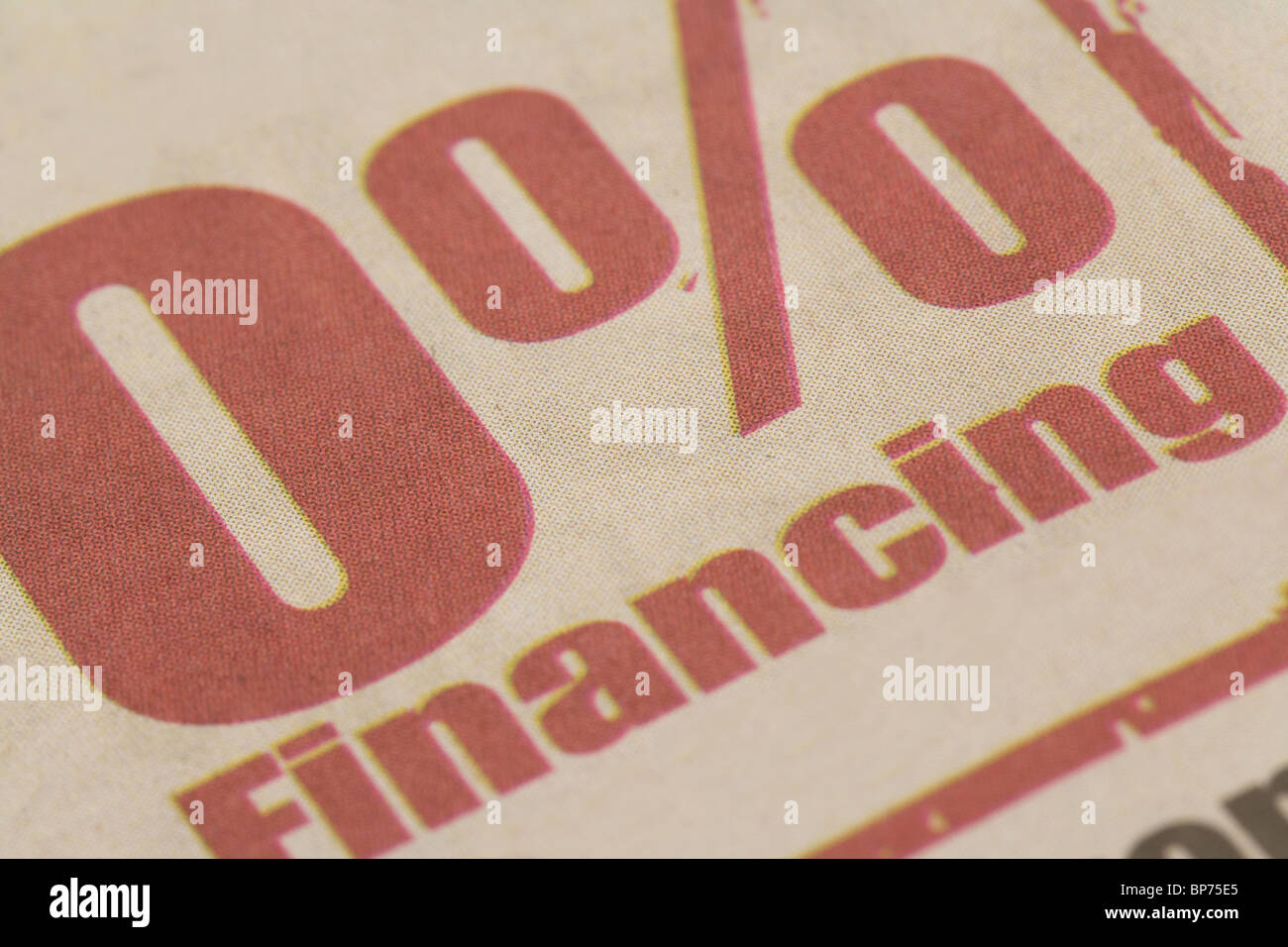 low financing rate, close up - Stock Image