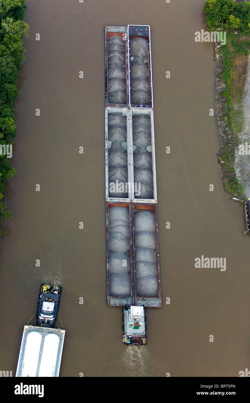 aerial view above tight barge traffic near Baton Rouge Louisiana - Stock Image