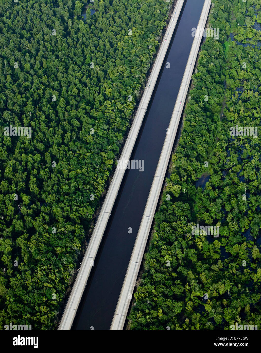 aerial view above Intercoastal Waterway Louisiana Stock Photo
