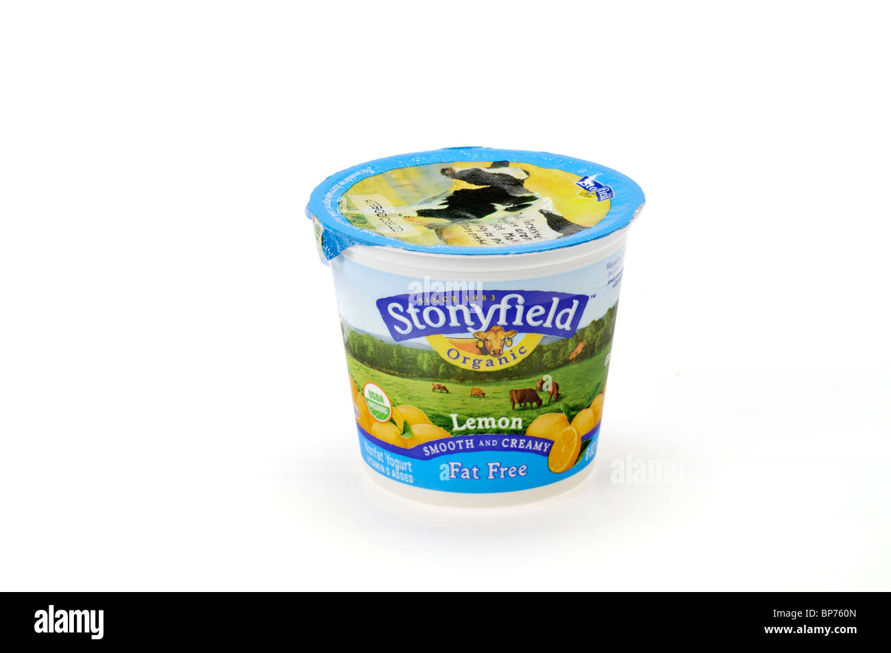Unopened single container of Stonyfield Organic Lemon Non-Fat Yogurt on white background. Cut out. Stock Photo