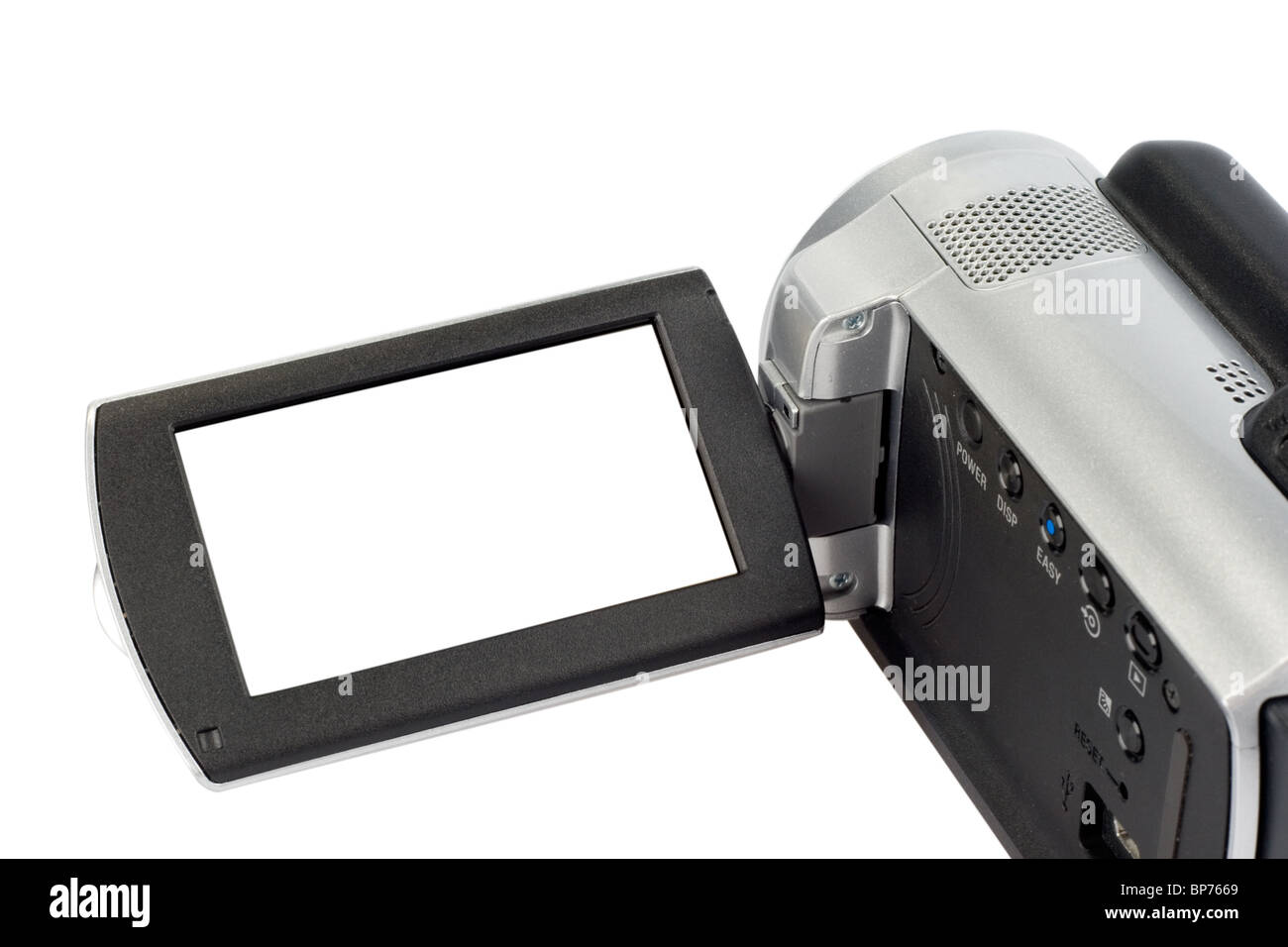 Camcorder with open lcd display - Stock Image