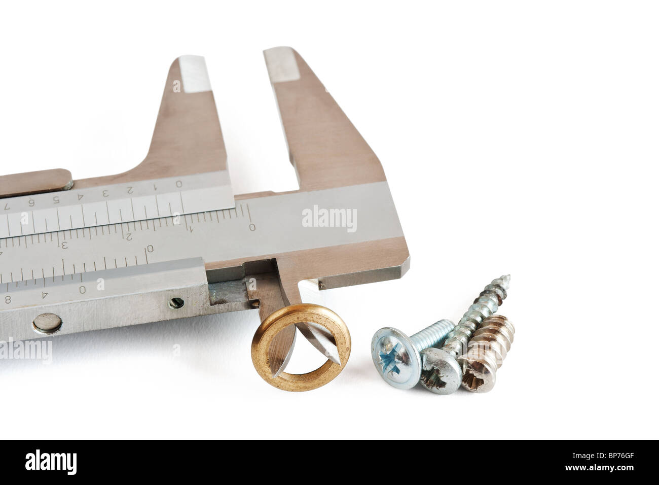 detail of caliper with washer and screws isolated on white background with clipping path - Stock Image