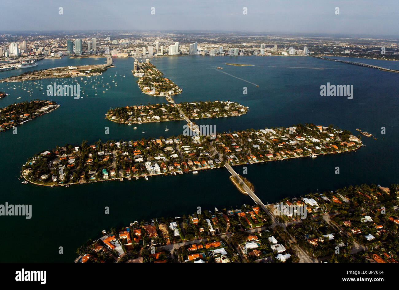 aerial view above Venetian Islands Rivo Alto Di Lido Marino San Marco island Biscayne Bay Miami Dade county Florida - Stock Image