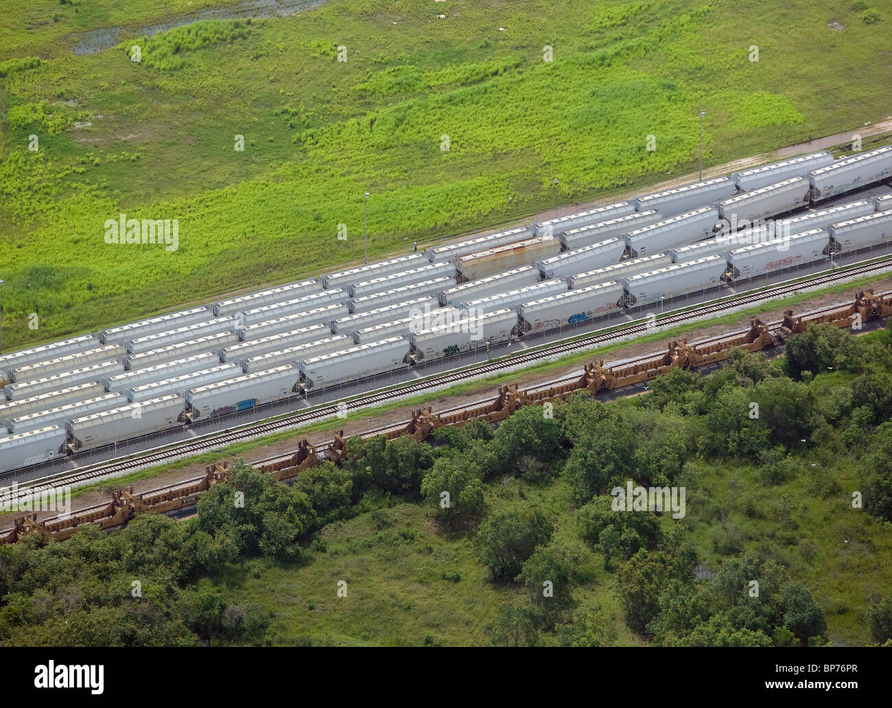 aerial view above railroad cars northeastern Mexico - Stock Image