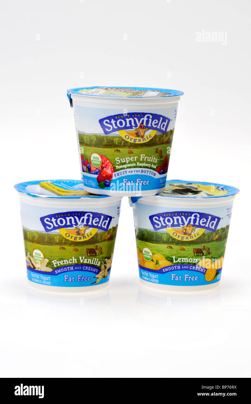 3 containers of Stonyfield Organic Non Fat Yogurt on white background cutout. Stock Photo