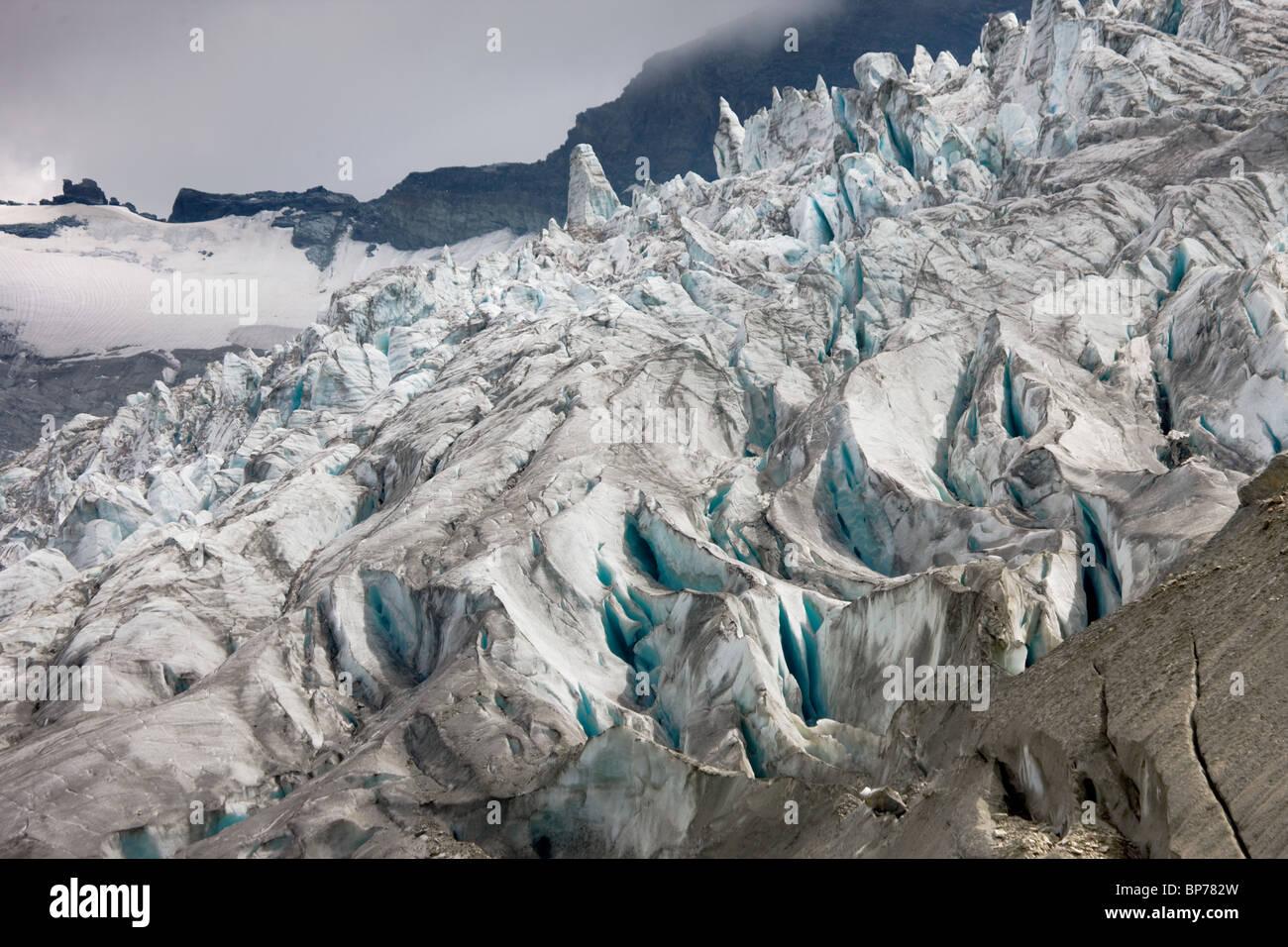 Switzerland, valais, Saas Fee, detail of the Fee-Glacier Stock Photo