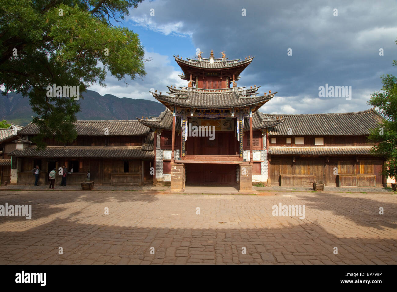 Three Terraced Pavilion in Shaxi Village, Yunnan Province, China Stock Photo