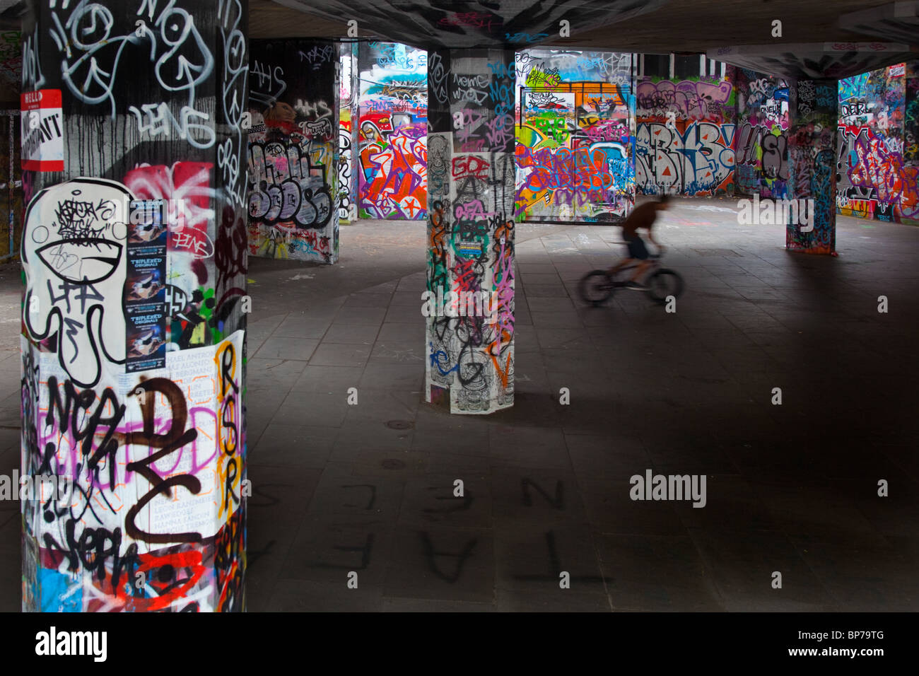 Skate Board Park and graffiti on the South-bank central London - Stock Image