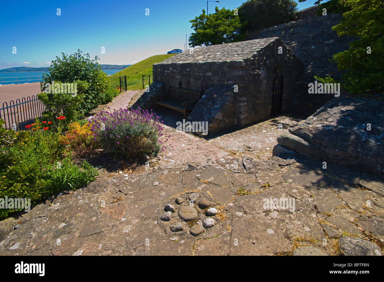 St Trillo's chapel, Rhos on Sea, Colwyn Bay, seafront, north Wales, UK - Stock Image