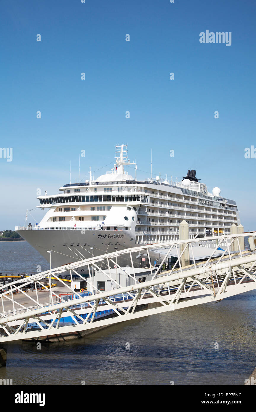 The World cruise liner in Liverpool UK - Stock Image