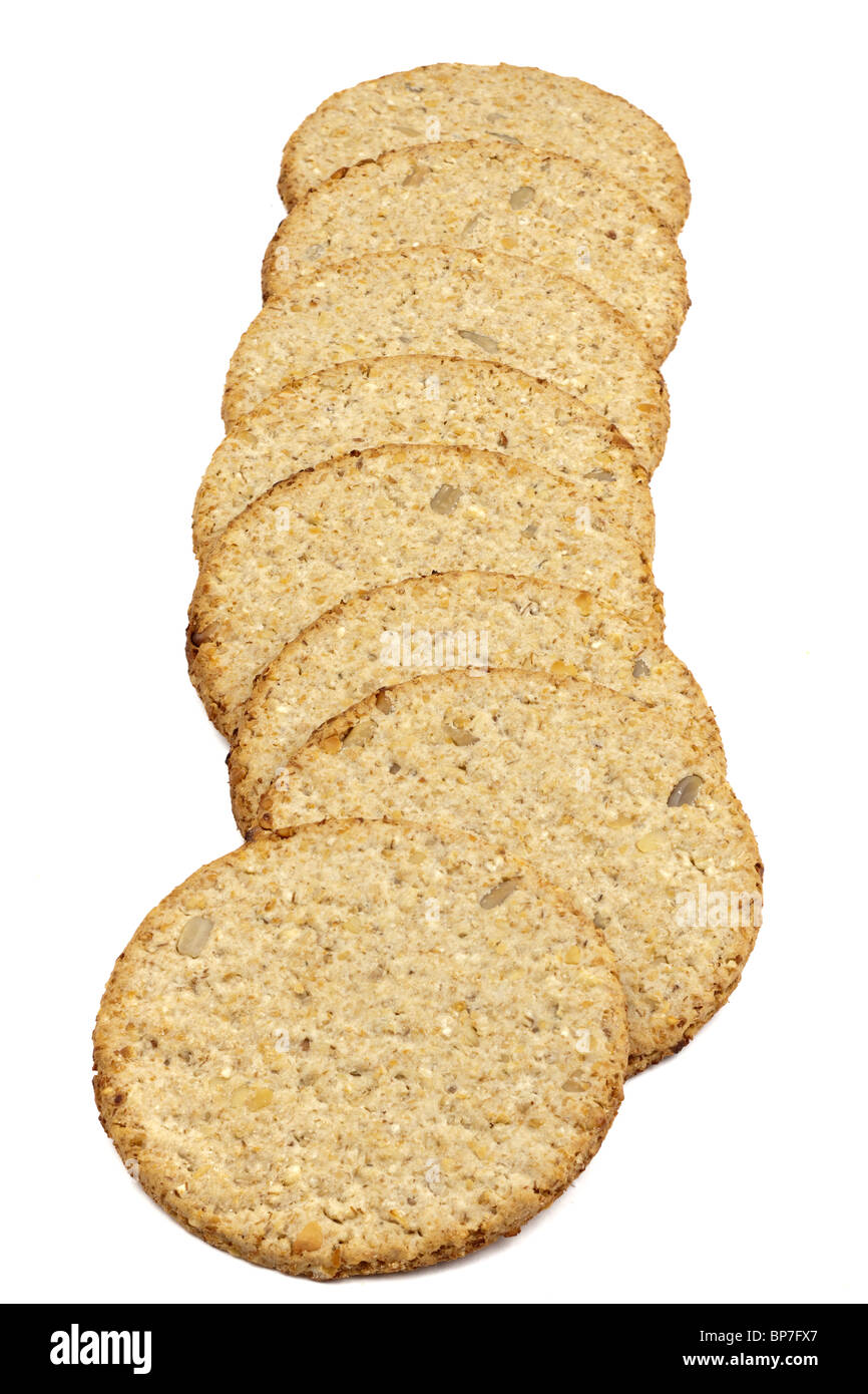 Stack of sunflower and pumpkin seed oatcakes Stock Photo