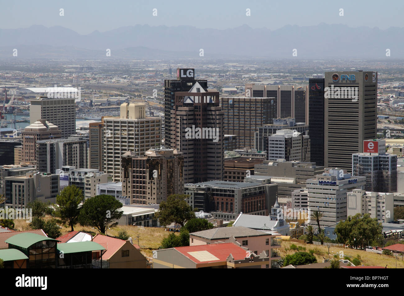 Cape Town city centre business buildings including the highrise LG premises and the FNB bank building Stock Photo