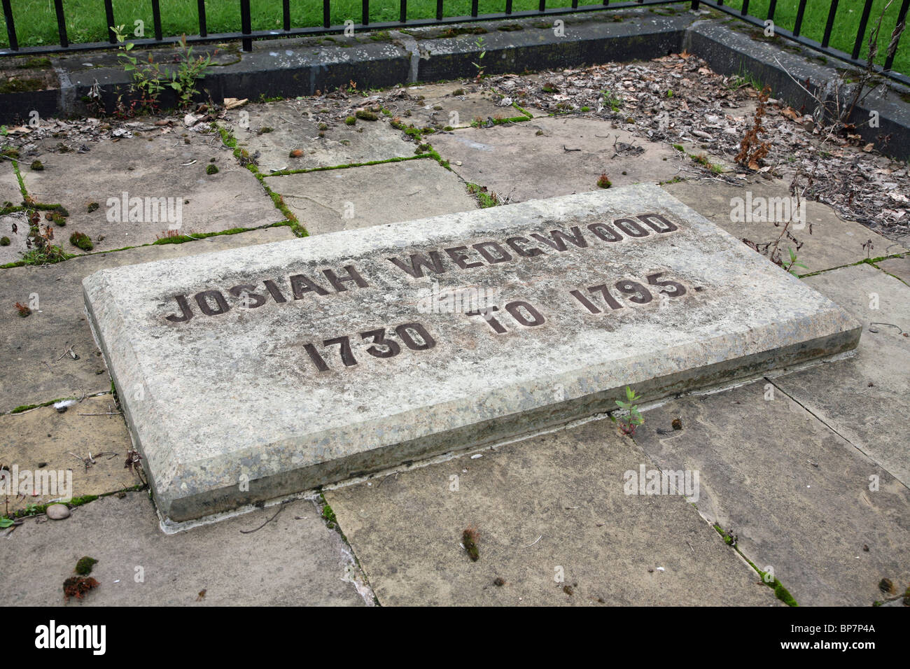 The grave of Josiah Wedgwood at Stoke Minster, the Church of St Peter ad Vincula, Stoke-on-Trent, Staffordshire, - Stock Image