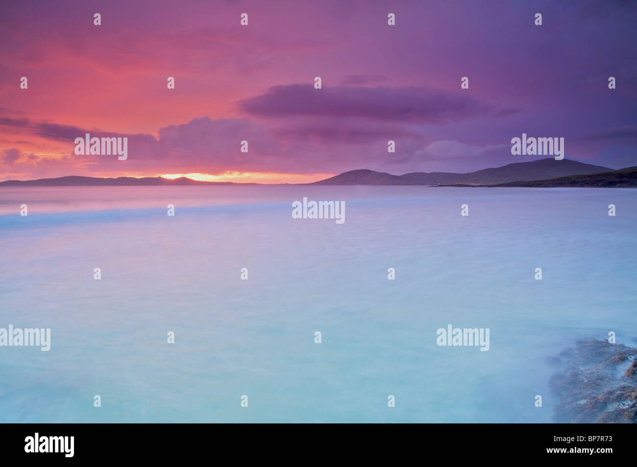 Taransay Outer Hebredies Scotland tide sunset movement - Stock Image