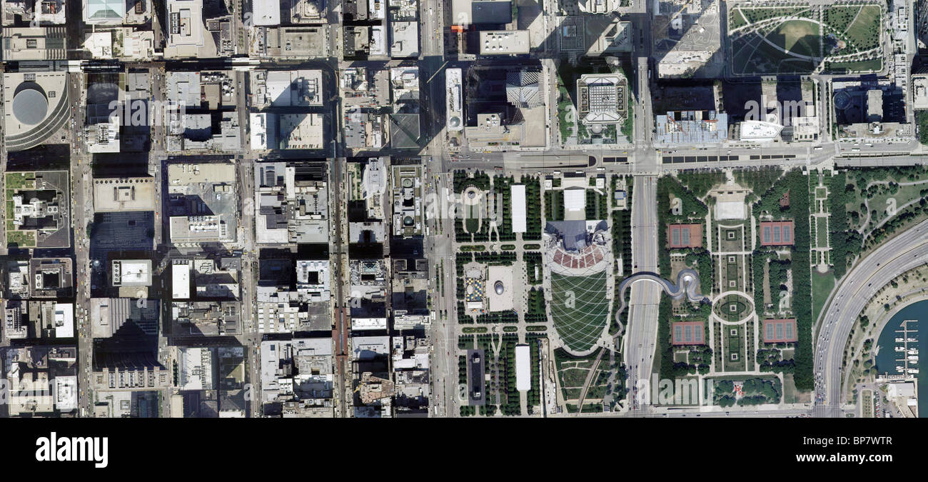aerial map view above downtown Chicago Illinois Stock Photo ...