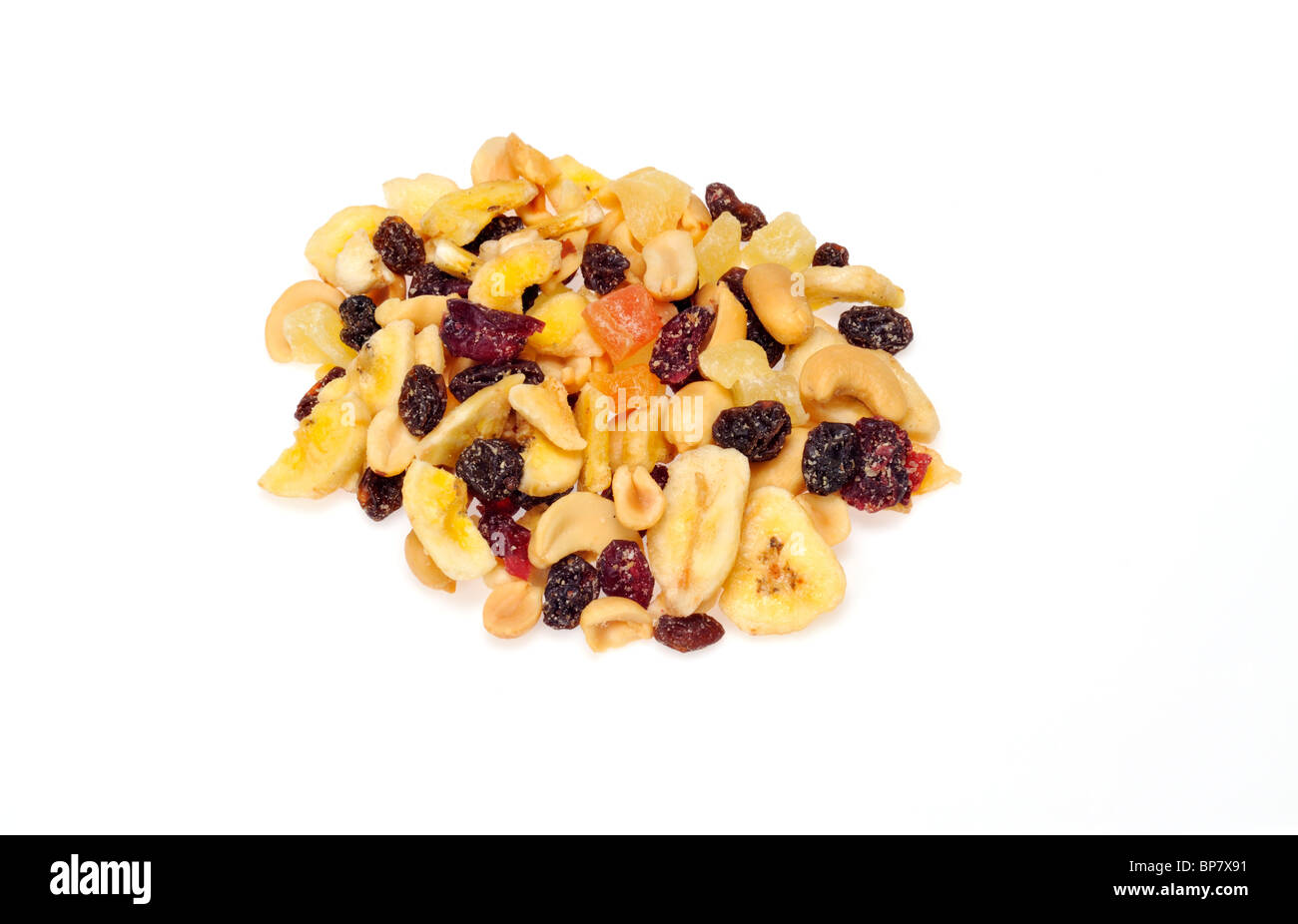 Handful of trail mix snack  isolated on white background cutout. - Stock Image