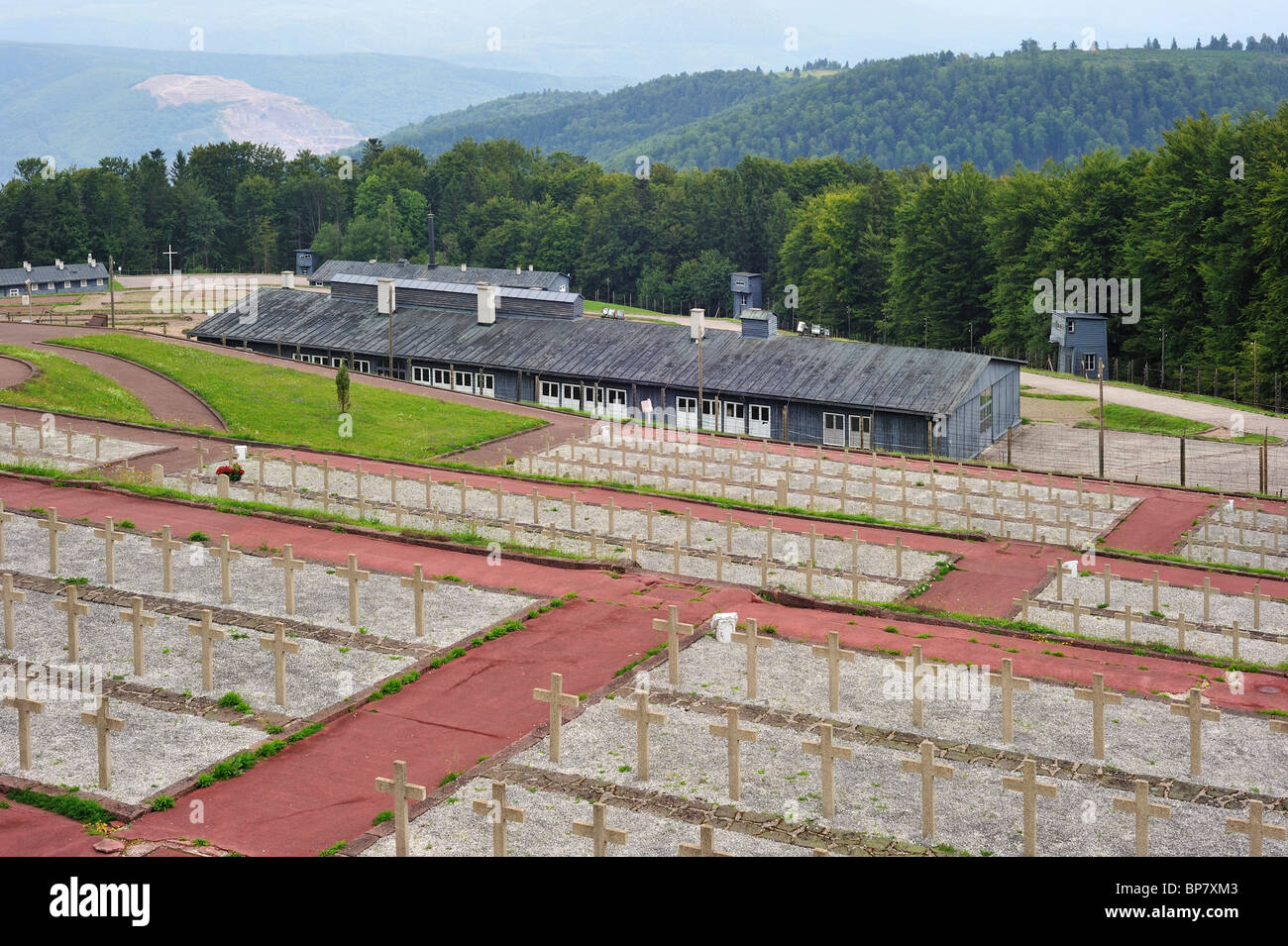 Cemetery and barracks at Natzweiler-Struthof, only WW2 concentration camp by the Nazis on French territory, Alsace, - Stock Image