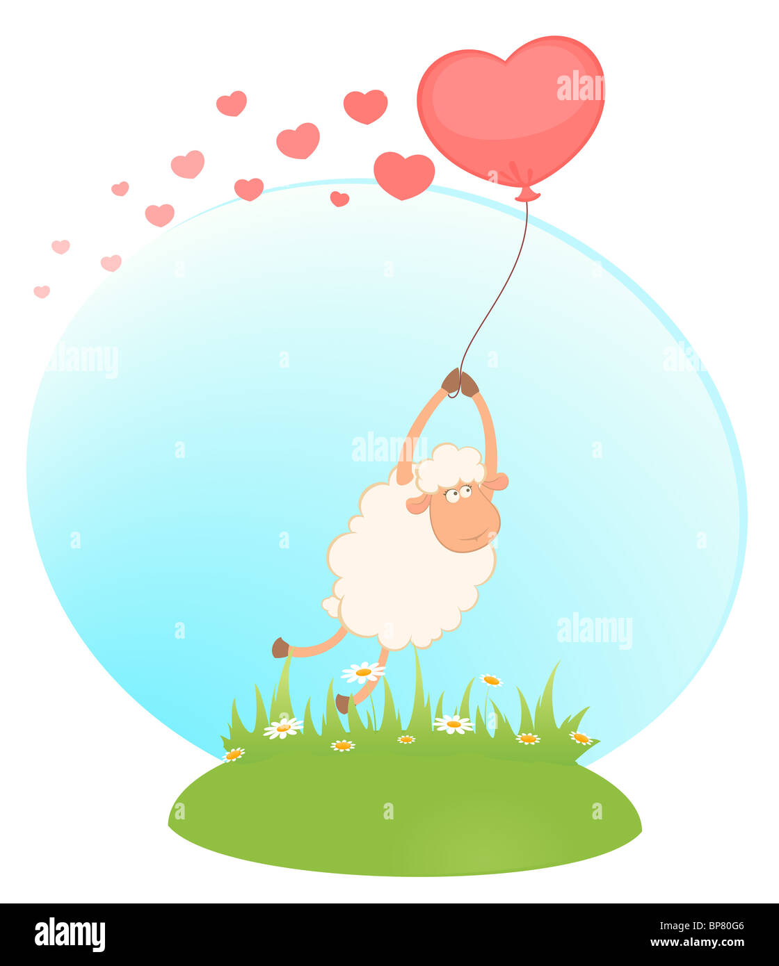 cartoon sheep flies on a balloon - Stock Image