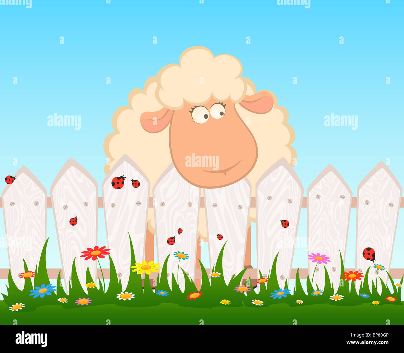 Cartoon smiling sheep after a fence - Stock Image