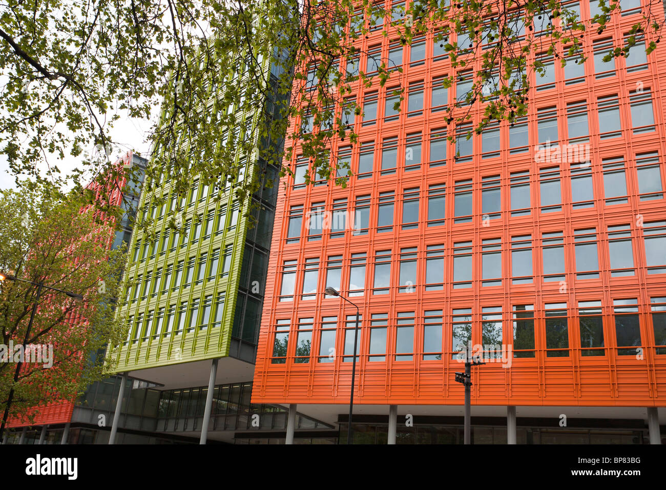 Piano's Colourful Facade. Using bright primary colours architect Piano breaks up the facade of this huge development - Stock Image