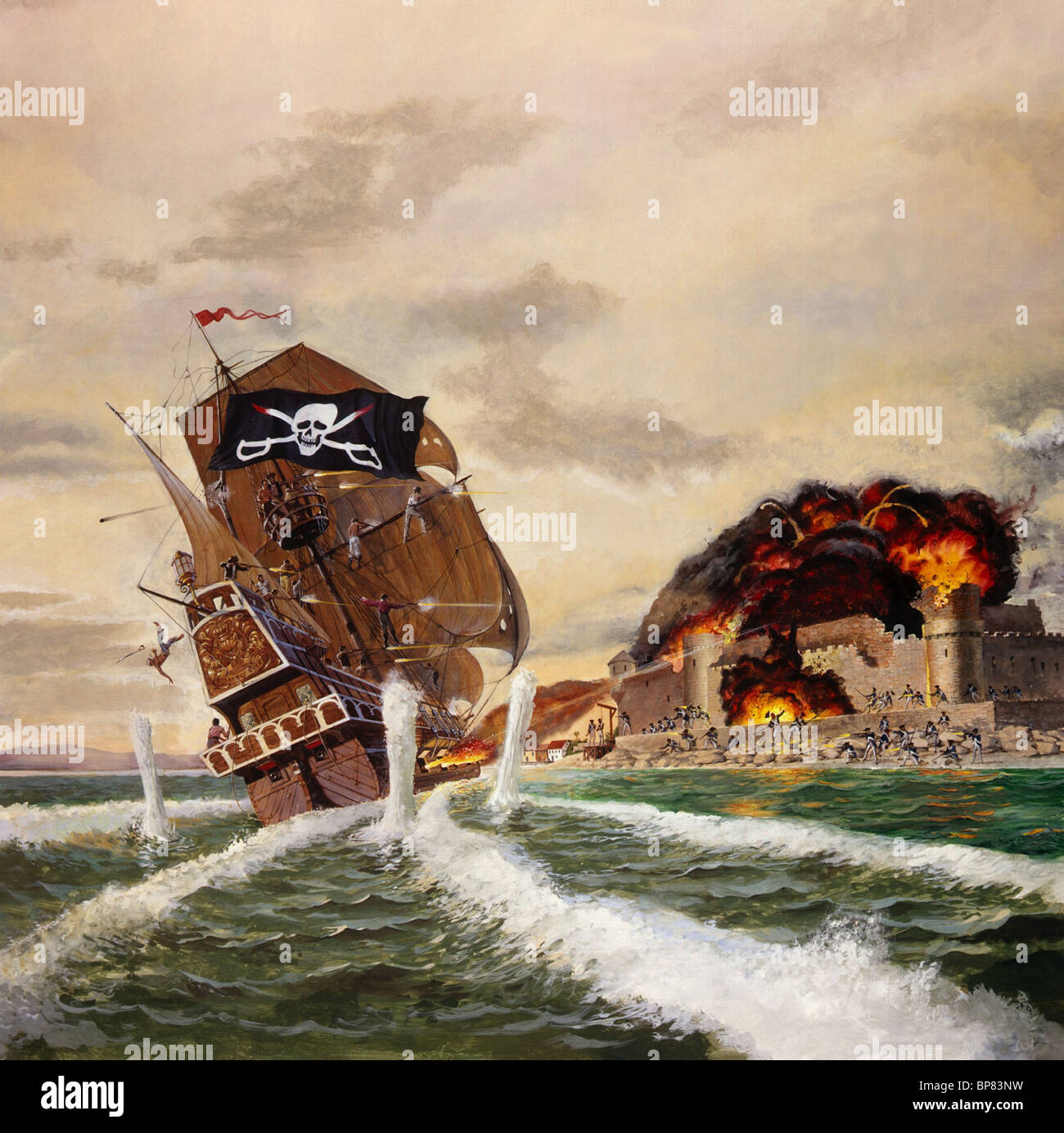 PIRATE SHIP BATTLE ARTWORK SCARLET BUCCANEER; SWASHBUCKLER (1976) - Stock Image