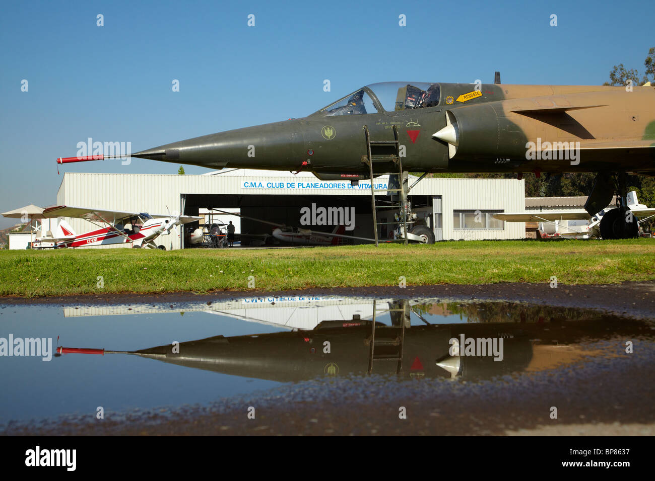 MIG Fighter Jet and Reflection, Vitacura Airfield, Santiago, Chile, South America - Stock Image