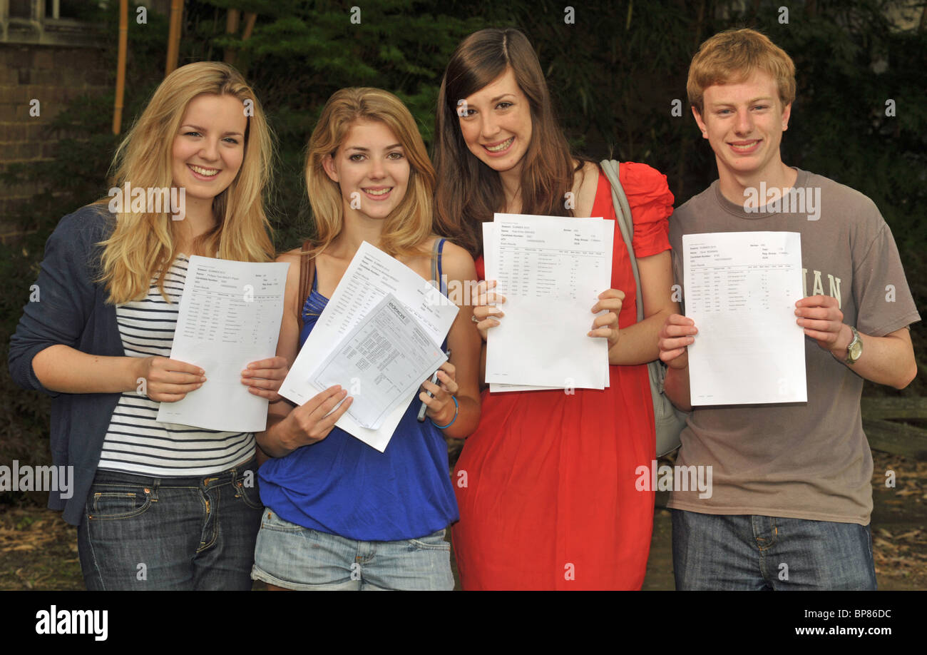 A (*) star sixth form students showing their exam results to camera - Stock Image
