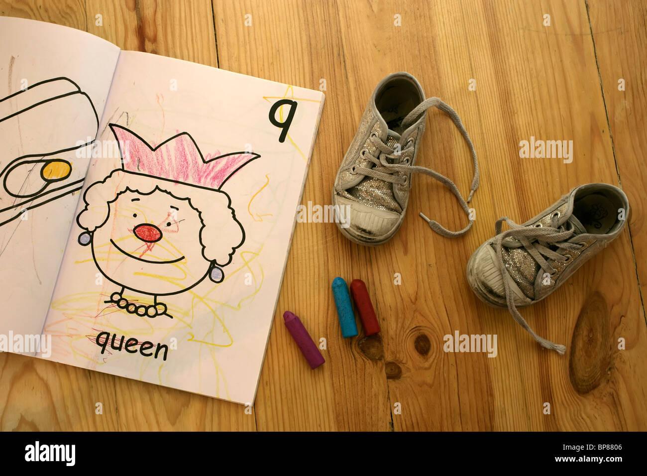 colouring book and crayons stock photos colouring book and crayons