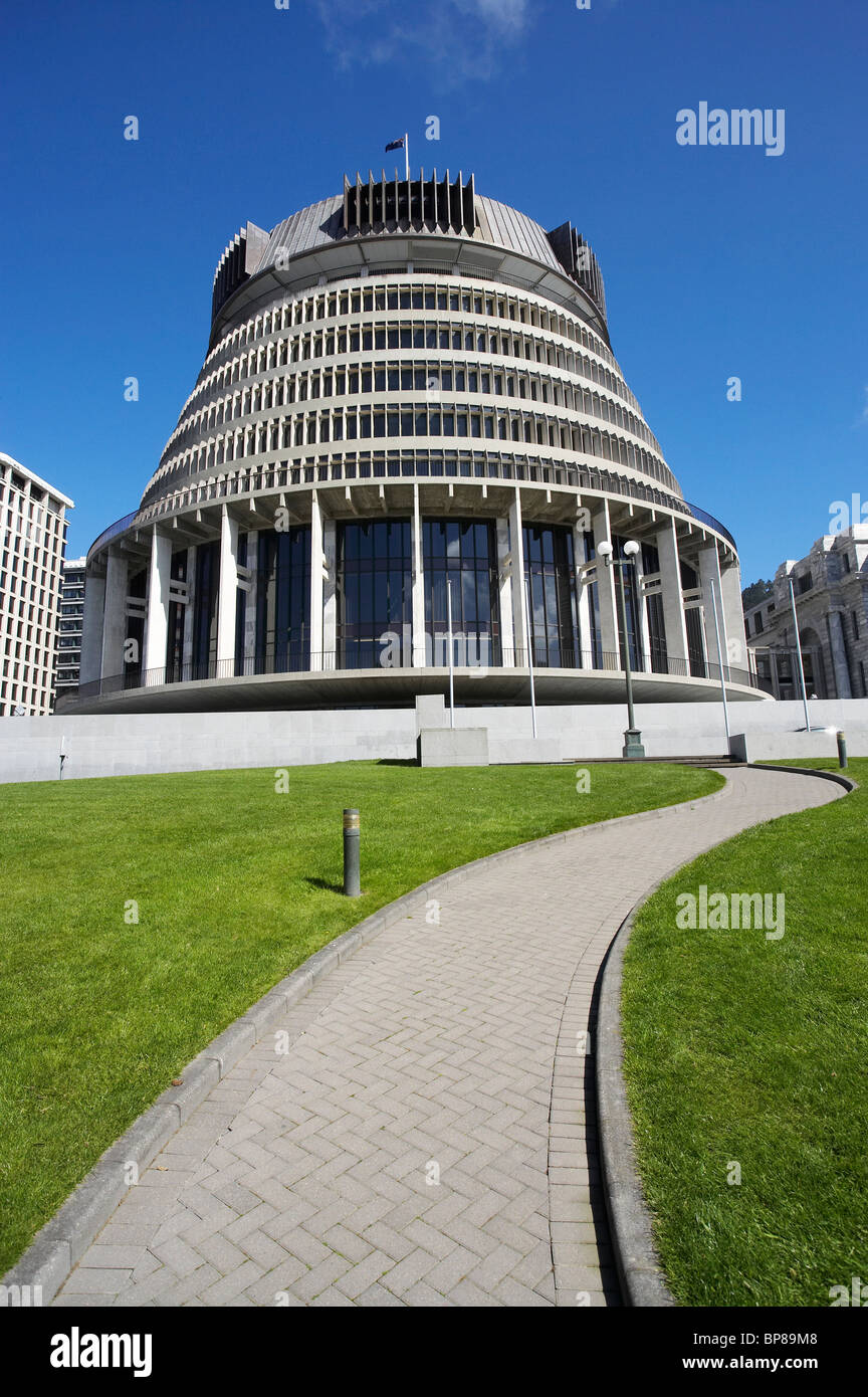 The Beehive, Parliament Buildings, Wellington, North Island, New Zealand - Stock Image