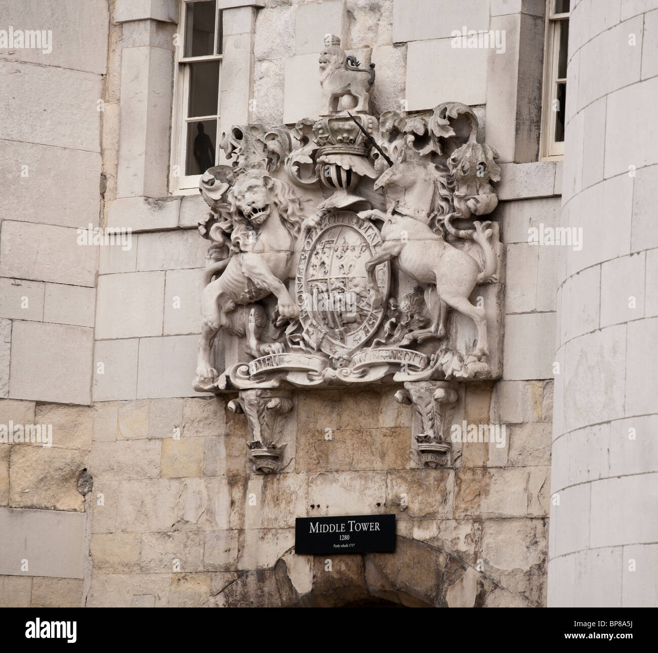 Royal Crest above the entrance to the Middle tower of the Tower of London - Stock Image