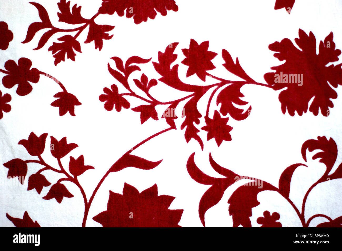Solid Red Floral Pattern On White Background