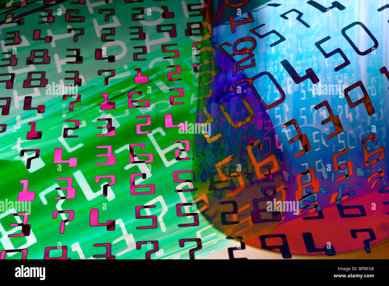 Colorful numbers abstract background - Stock Image