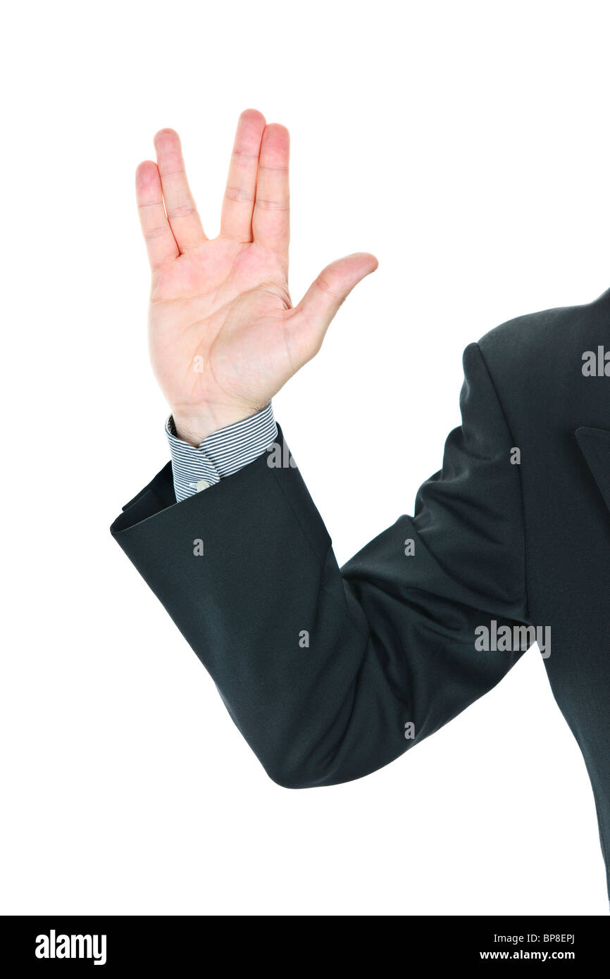 Business man giving Vulcan greeting from Star Trek - Stock Image