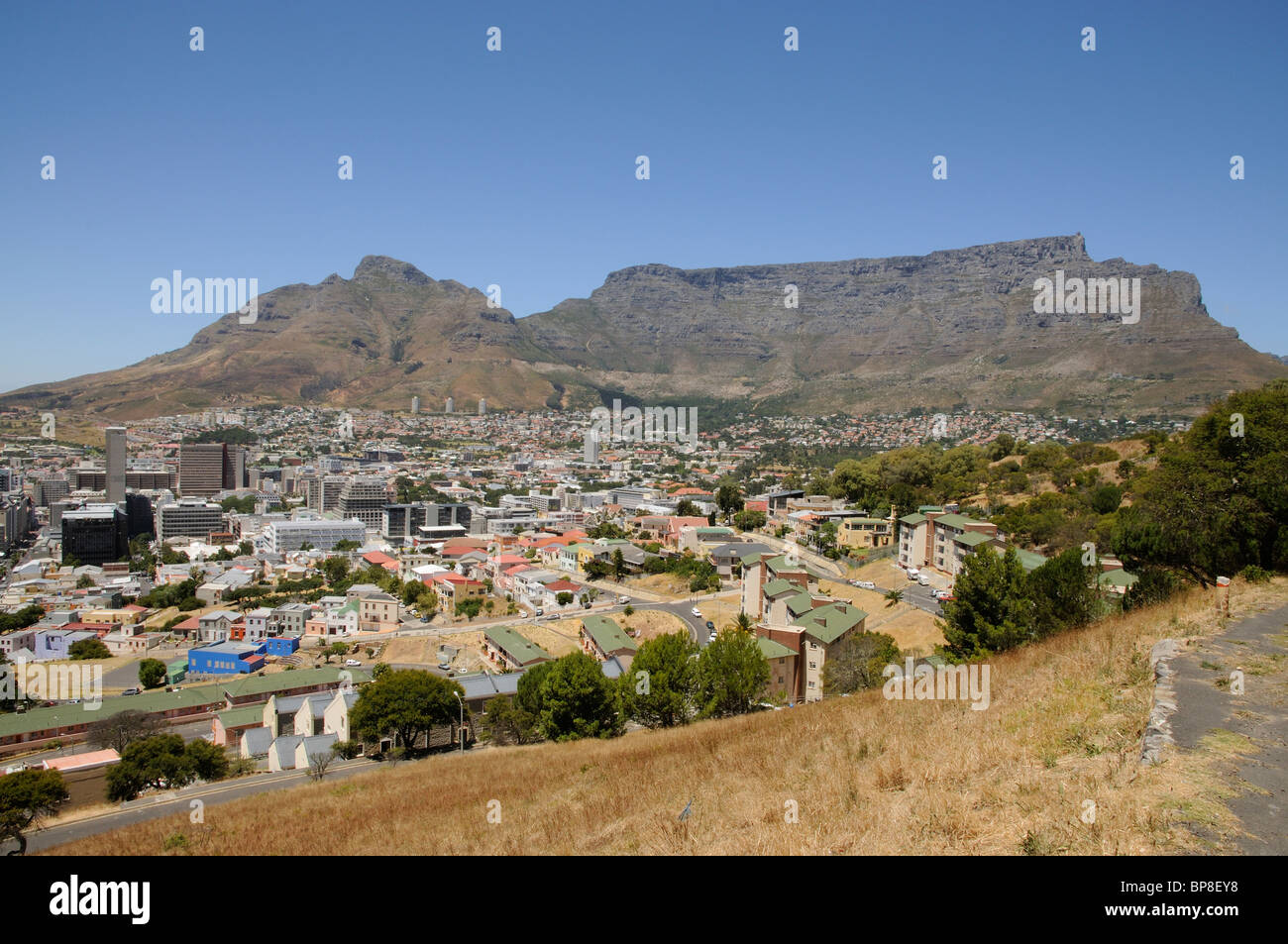 Table Mountain with Devil's Peak and Cape Town city centre South Africa - Stock Image
