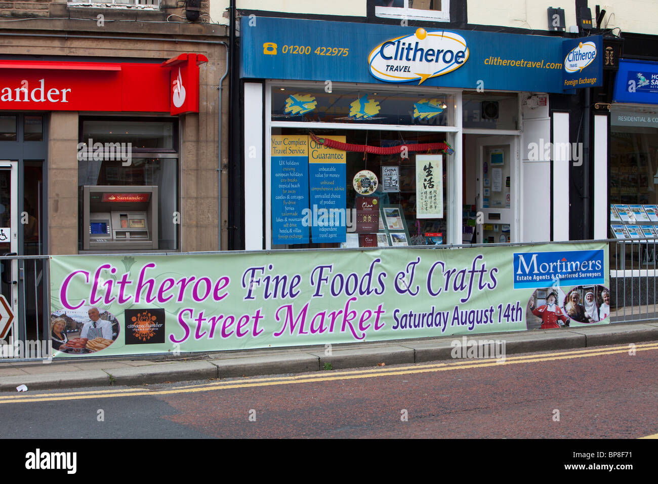 An advert for a street market and food fair in Clitheroe, Lancashire, UK. - Stock Image