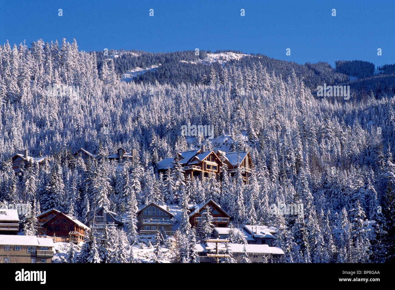 whistler, bc, british columbia, canada - ski resort village, winter