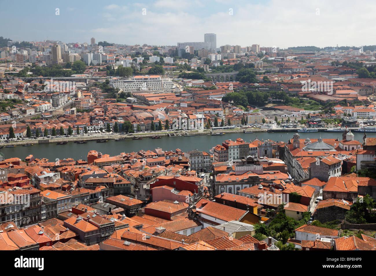 View over Porto and Vila Nova de Gaia, Portugal - Stock Image