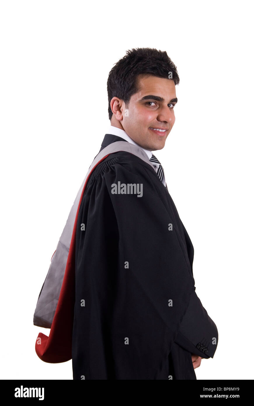 Young Asian university student graduating wearing graduation gown ...
