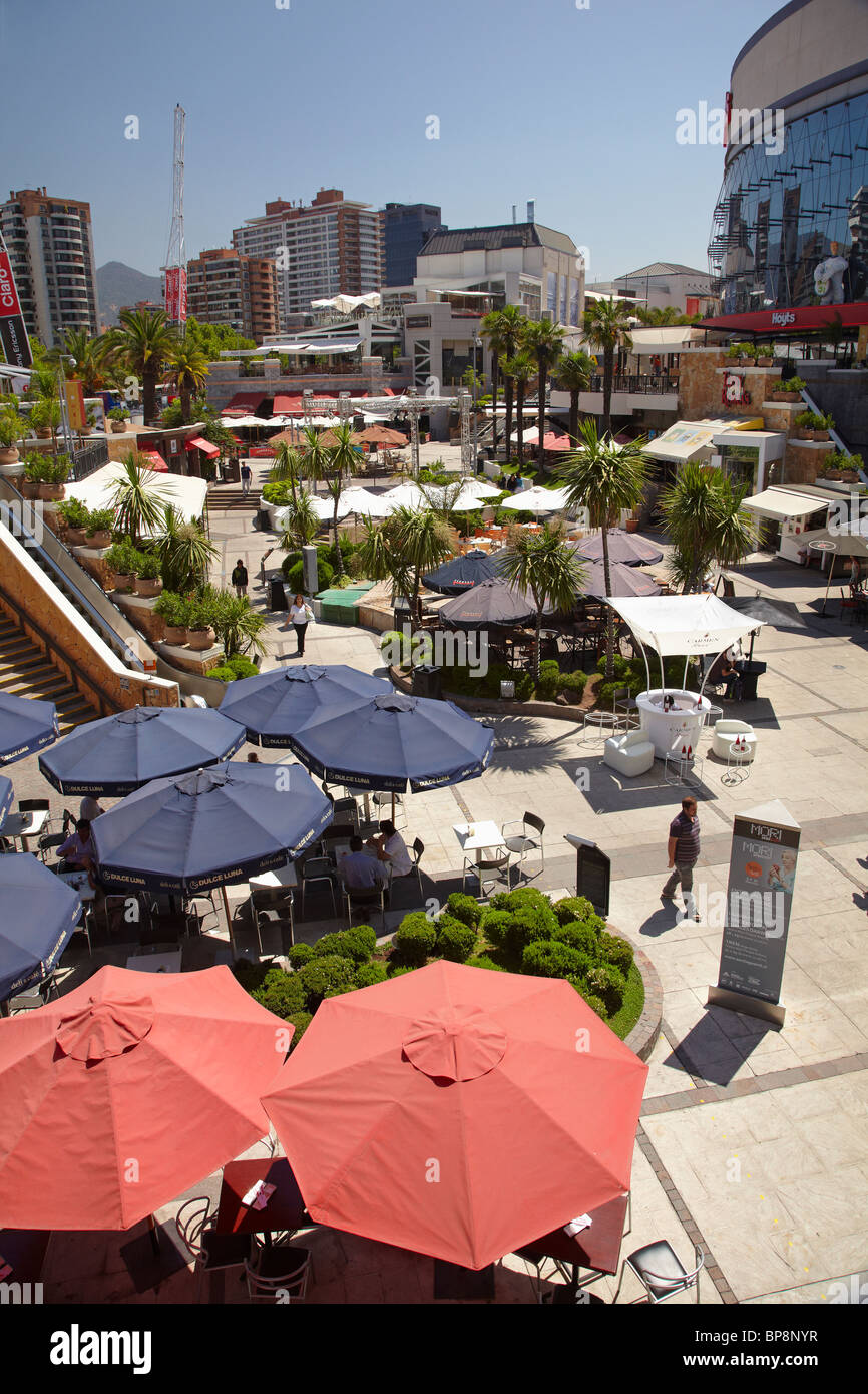 Outdoor Food Court, Parque Arauco Shopping Mall, Santiago, Chile, South America - Stock Image