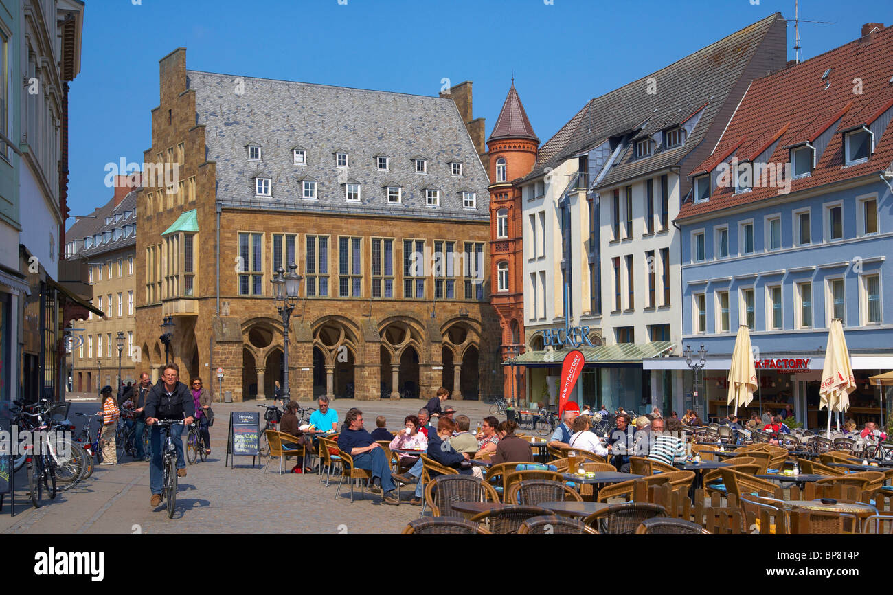 Oldest Town hall in Westphalia with arcade at the Market place in Minden, Strasse der Weserrenaissance, North Rhine - Stock Image