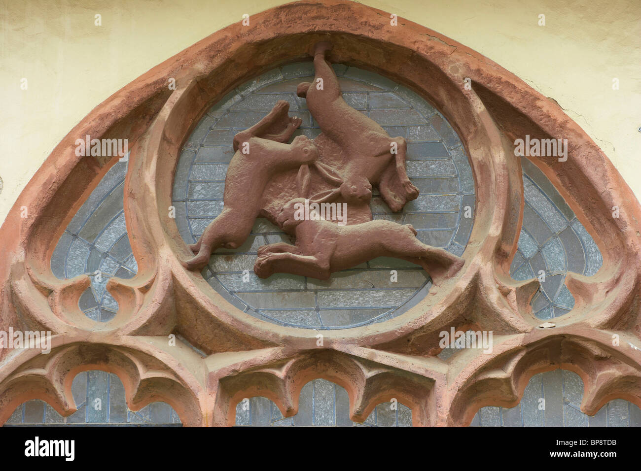 Window of three hares (Drei-Hasen-Fenster)  in the cloister of the Cathedral (Dom), Strasse der Weserrenaissance, - Stock Image