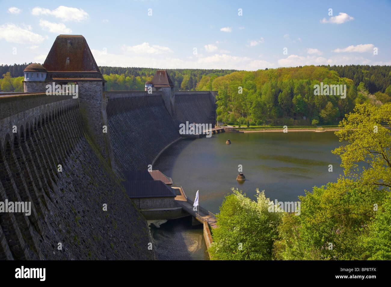 Dam at the Moehnesee, Naturpark Arnsberger Wald, Wildlife park, Sauerland, North Rhine-Westphalia, Germany, Europe - Stock Image