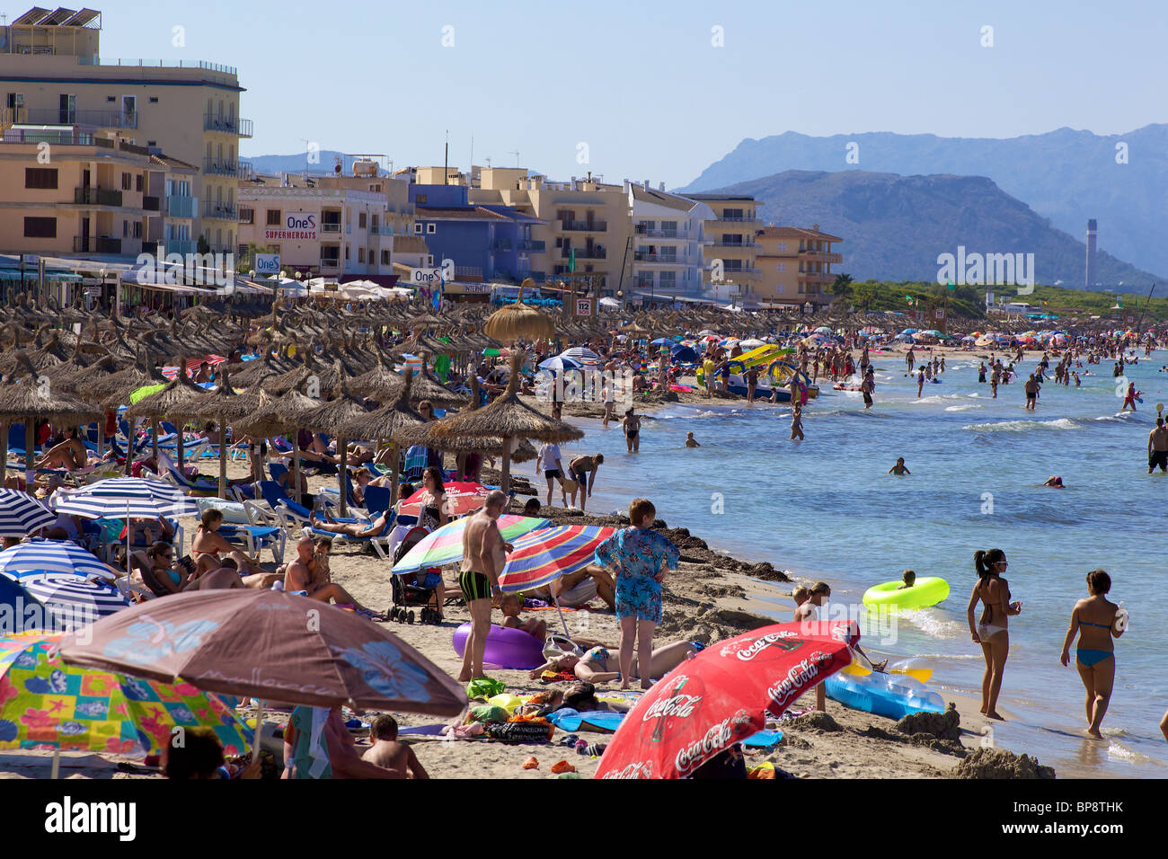 beach crowded Can Picafort - Stock Image