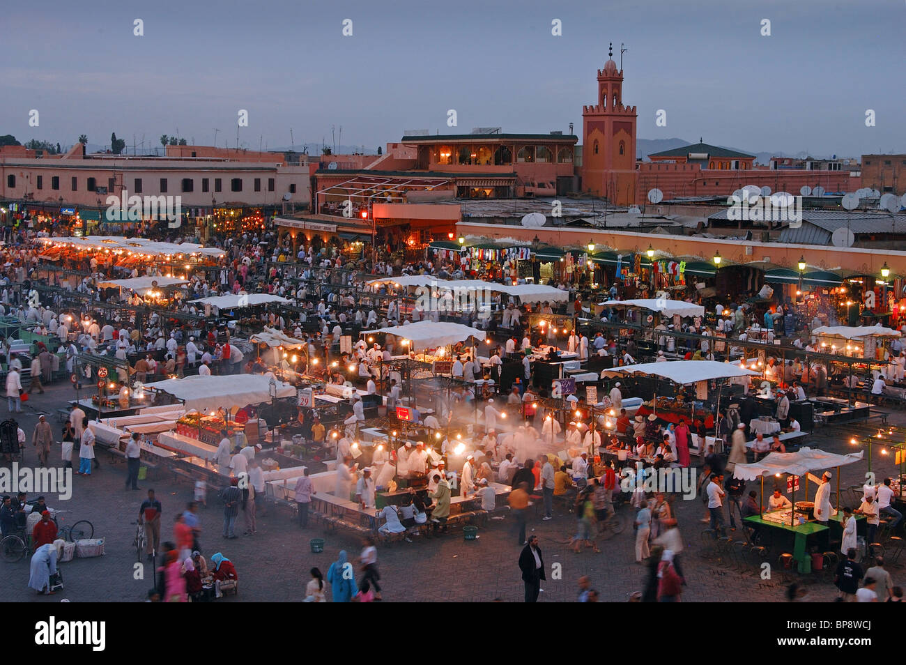 Djemma el Fna square and food courts Marrakech, Morrocco - Stock Image