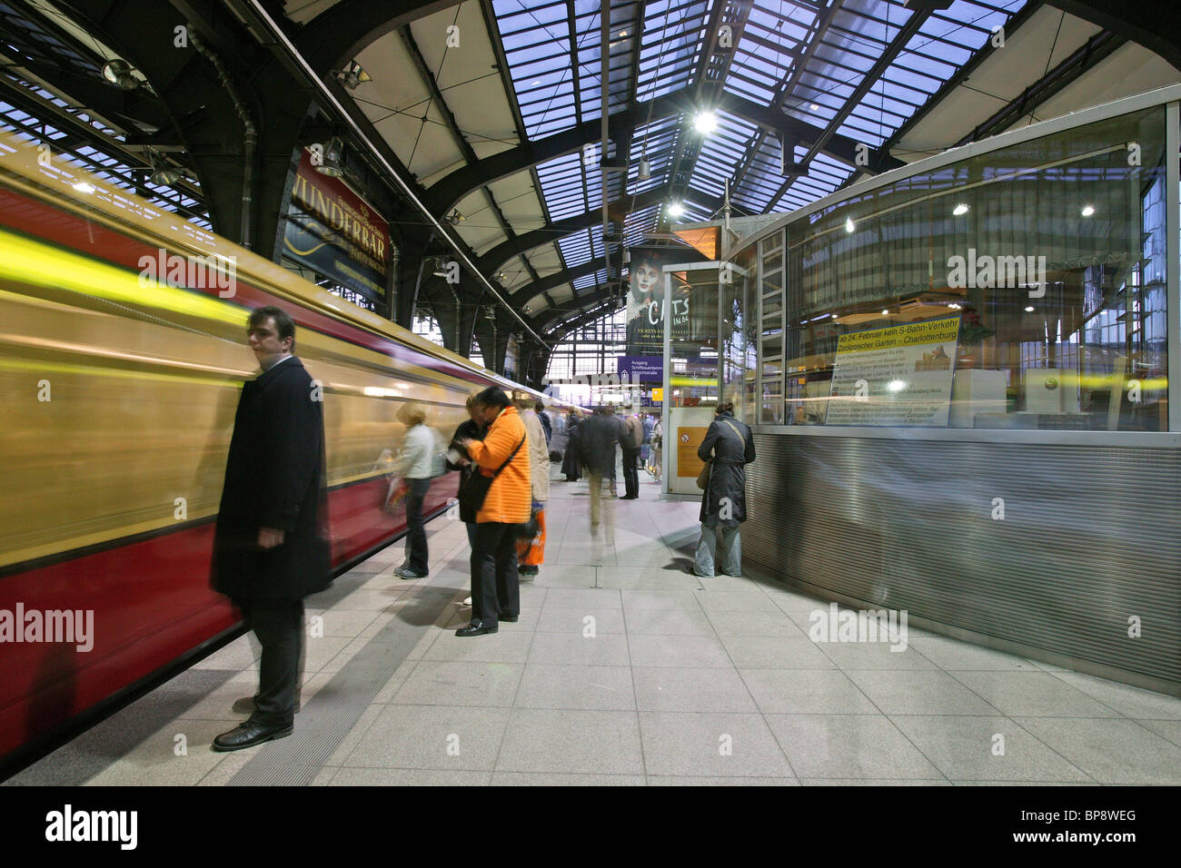 S-Bahn train in Friedrichstrasse station, Berlin Stock Photo